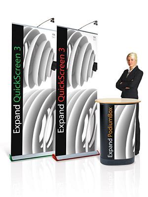 Kombinera dina rollups med ett podium/transportbox